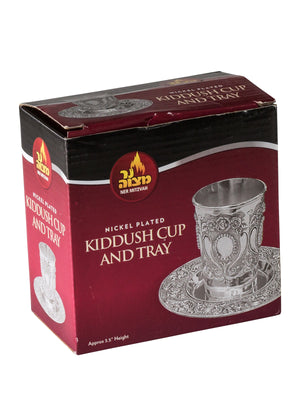 Silver Plated Kiddush Cup with Tray