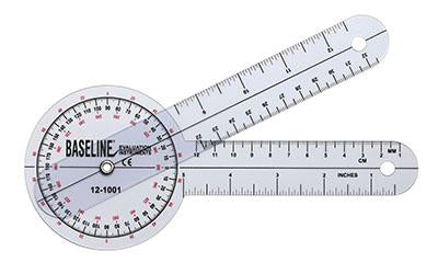 Baseline Plastic Goniometer - 360 Degree Head - 8 inch Arms, 25-pack