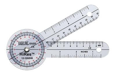 Baseline Plastic Goniometer - HiRes 360 Degree Head - 6 inch Arms, 25-pack