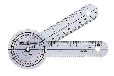 Baseline Plastic Goniometer - HiRes 360 Degree Head - 12 inch Arms, 25-pack