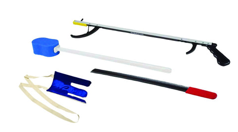 "FabLife Hip Kit: 26"" reacher, contoured sponge, flexible sock aid, 24"" metal shoehorn"