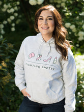 Load image into Gallery viewer, Fighting Pretty Unisex Logo Hoodie - Light Grey