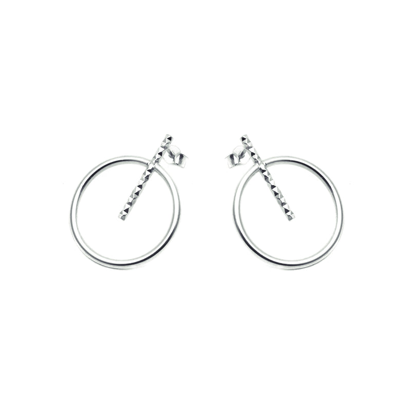 Large Circle Bar Stud Earrings
