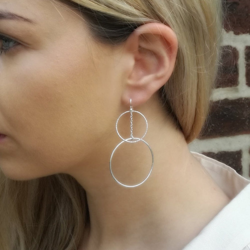 Yellow Gold Vermeil Large Geometric Circle Drop Earrings