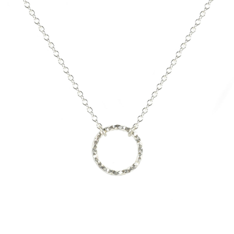 Silver Faceted Circle Necklace