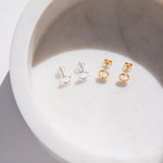 Yellow Gold Vermeil Faceted Circle Studs