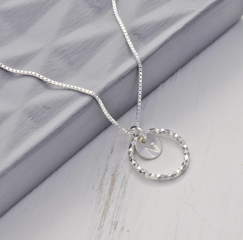 Personalised Initial Faceted Circle Pendant