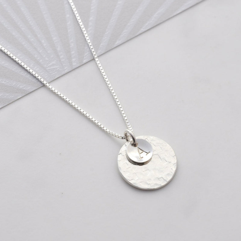 Personalised Hammered Disc Necklace with Extender Chain