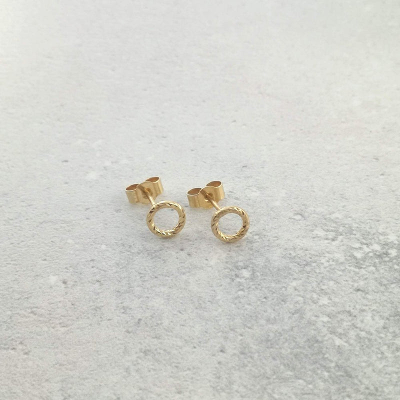 18ct Yellow Vermeil Faceted Circle Studs