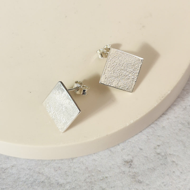 Sale Large Square Silver Studs