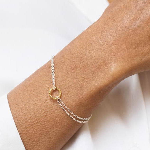 Mixed Metal Dainty Circle Bracelet