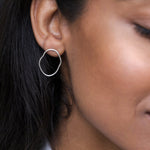 Linear Oval Wave Stud Earrings