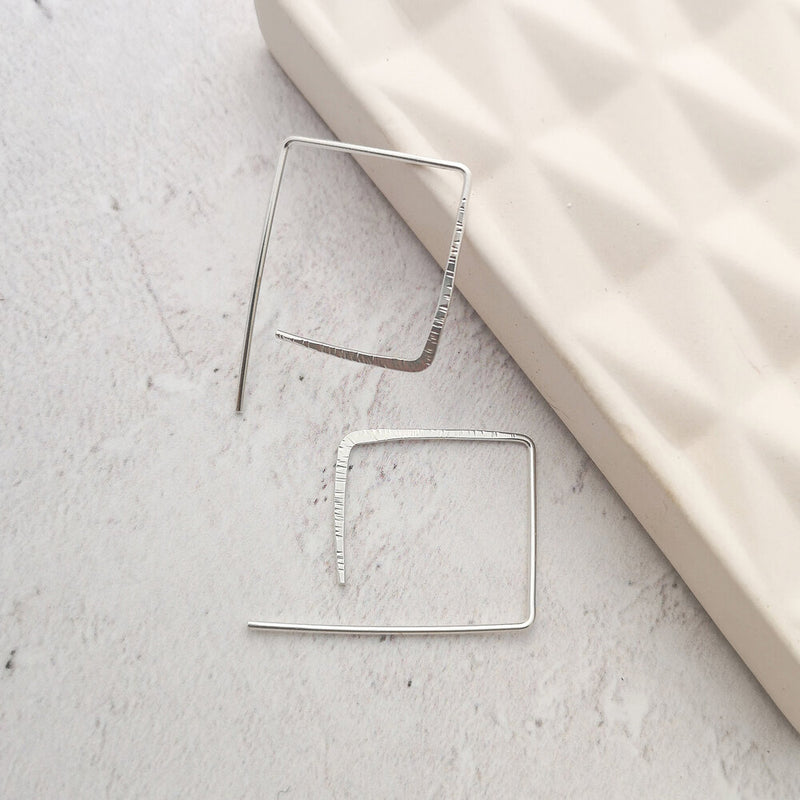 Square Hammered Hoop Earrings