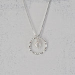 Faceted Silver Circle and Pearl Pendant