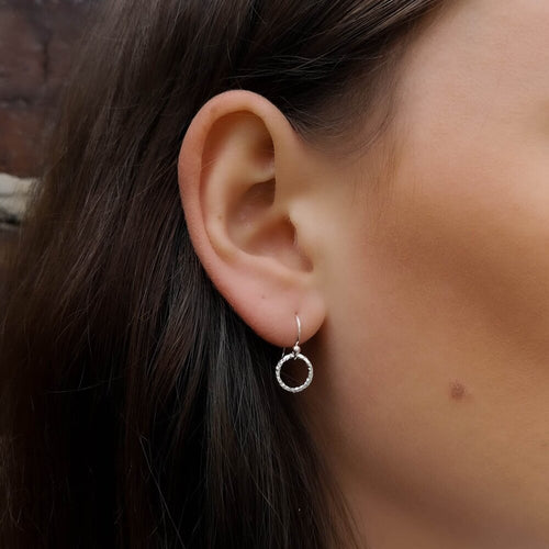 Silver Faceted Circle Drop Earrings