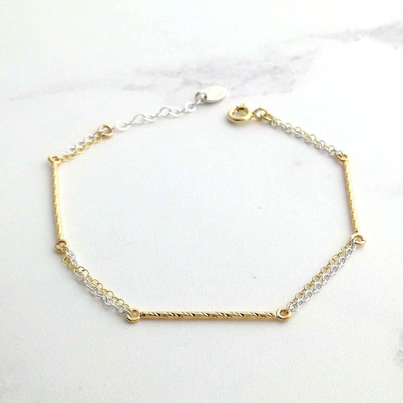 Gold and Silver Bar Bracelet