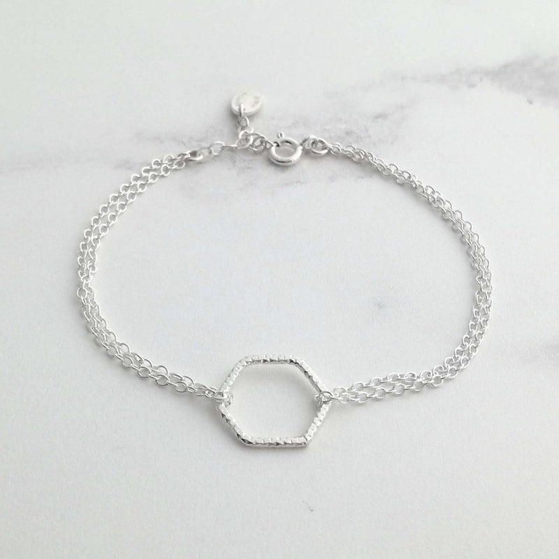 Hexagon Silver Bracelet