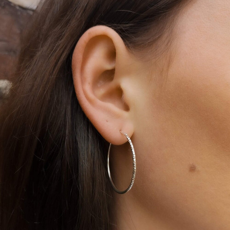 Silver Mixed Texture Hoop Earrings