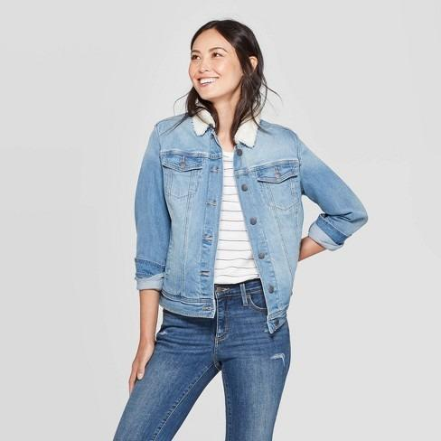 Target Women's Denim with Sherpa Jacket - Universal Thread™ Light Wash