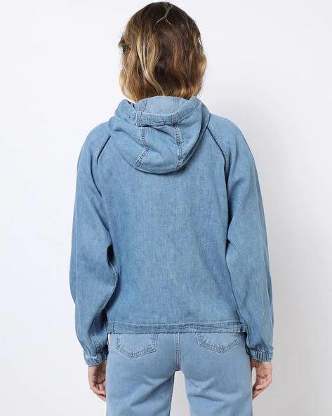 Zip-Front Hooded Denim Jacket