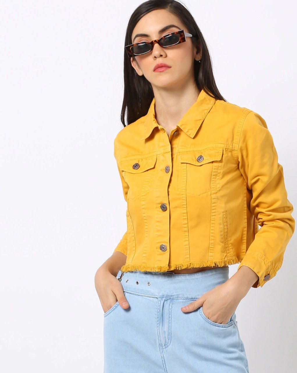 Cropped Denim Jacket yellow