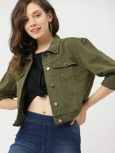Load image into Gallery viewer, Olive Green Denim Jacket