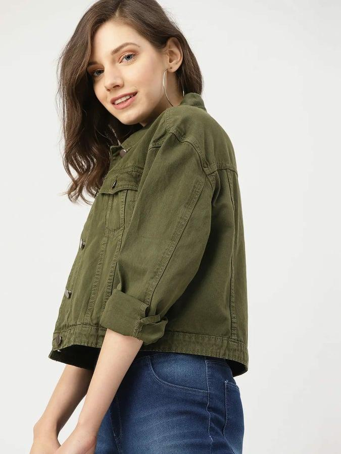 Olive Green Denim Jacket