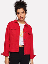 Load image into Gallery viewer, Red Denim Jacket Women