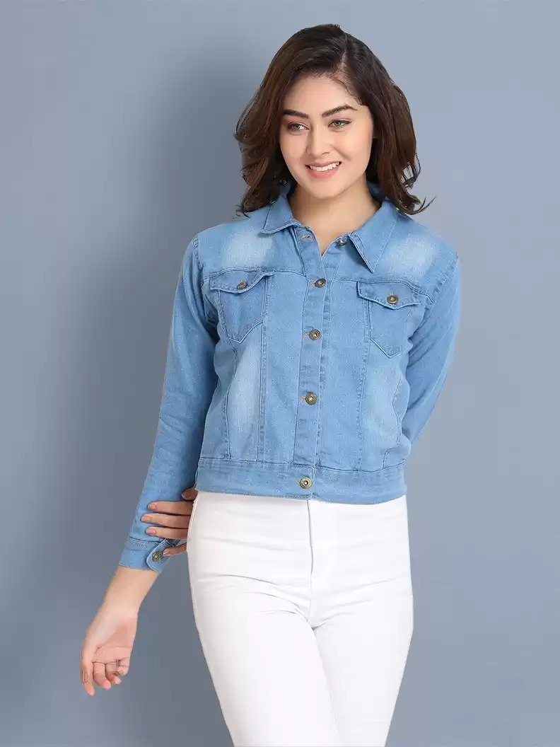 Full Sleeve Solid Women Denim Jacket