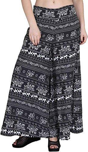 Fablab Women's Poly Crepe Casual Wear Wide Leg Printed Palazzo Trousers with Inner Shorts & Pocket Pack