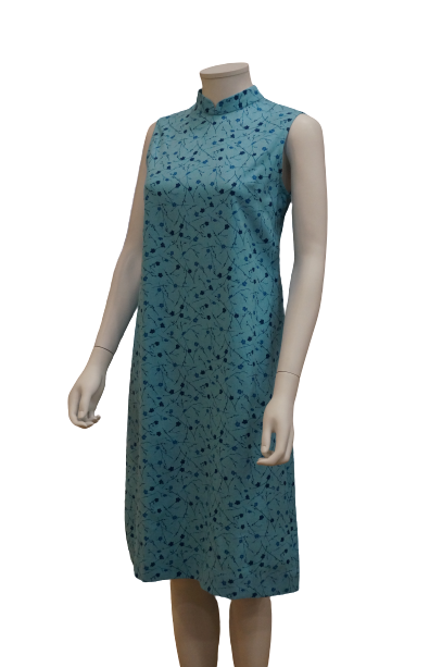 S/LESS MANDARIN COLLAR FLORAL LINEN VISCOSE DRESS