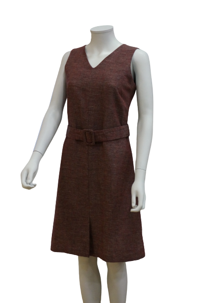 S/LESS V NECK LINEN VISCOSE DRESS WITH BUCKLE BELT