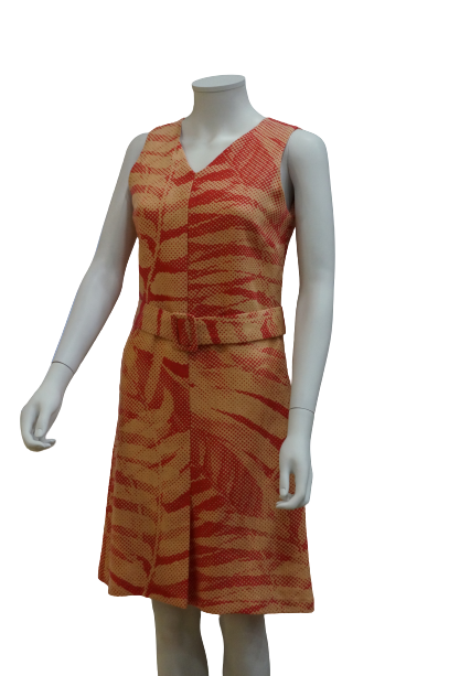 S/LESS V NECK PRINTED LINEN VISCOSE DRESS WITH BUCKLE BELT
