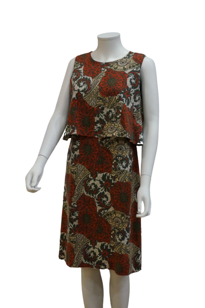 S/LESS DOUBLE LAYER PRINTED LINEN VISCOSE DRESS