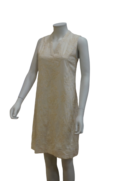 S/LESS V NECK EMBROIDERED LINEN COTTON DRESS