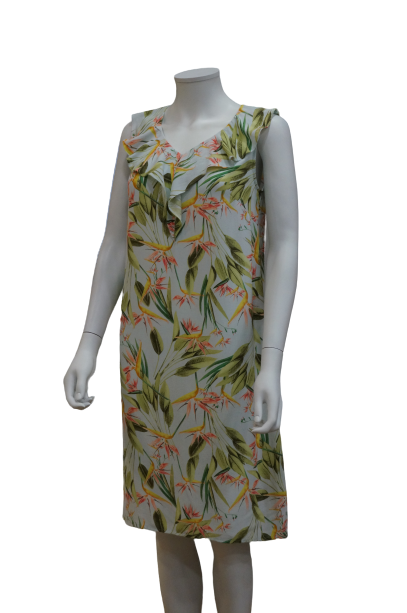 S/LESS V RUFFLES NECK PRINTED VISCOSE DRESS