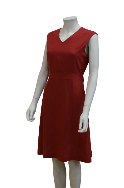 S/LESS V NECK LINEN DRESS WITH WAISTBAND