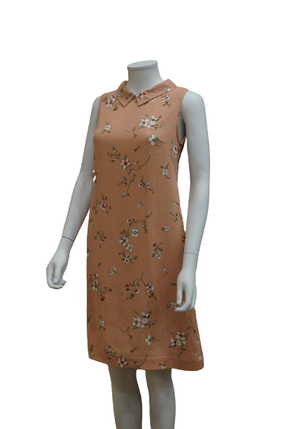 S/LESS COLLARED FLORAL COTTON DRESS