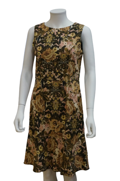 S/LESS FLORAL LINEN VISCOSE FITTED DRESS WITH SWING HEM