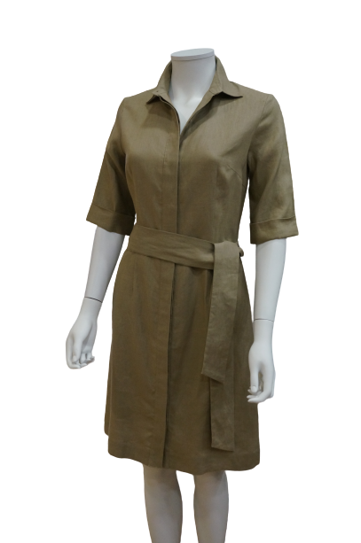 3/4 SLEEVE LINEN SHIRT DRESS WITH TIE