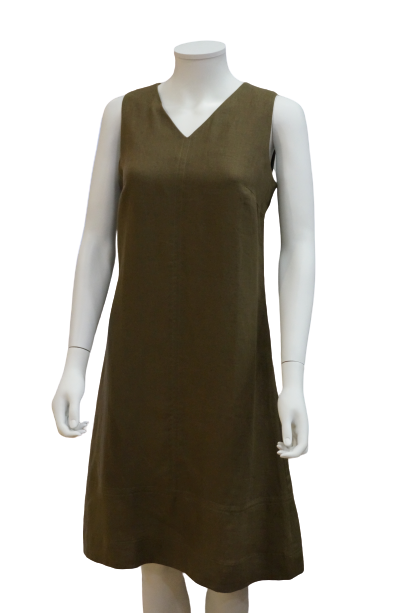 S/LESS V NECK CENTRE STITCHED LINEN DRESS