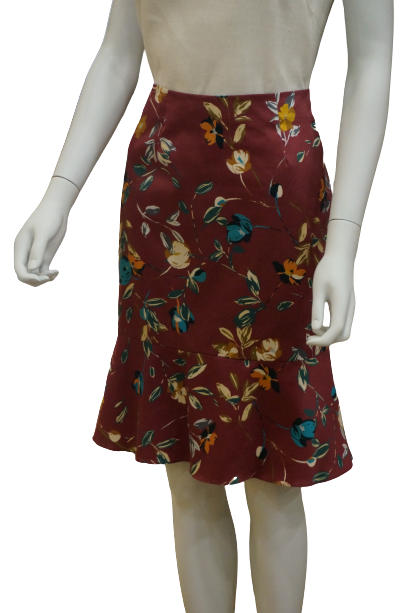 FLORAL COTTON SKIRT WITH SWING HEM
