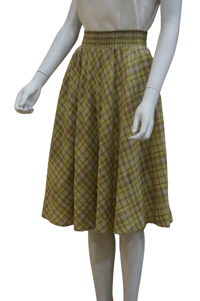 SMOCKED WAIST CHECKERED COTTON MIX CIRCULAR SKIRT