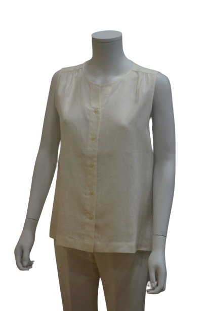 S/LESS FRONT BUTTON LINEN BLOUSE