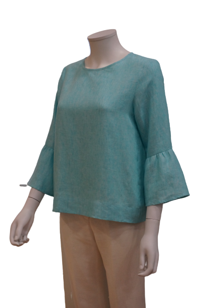 3/4 SLEEVE WITH GATHERS LINEN BLOUSE