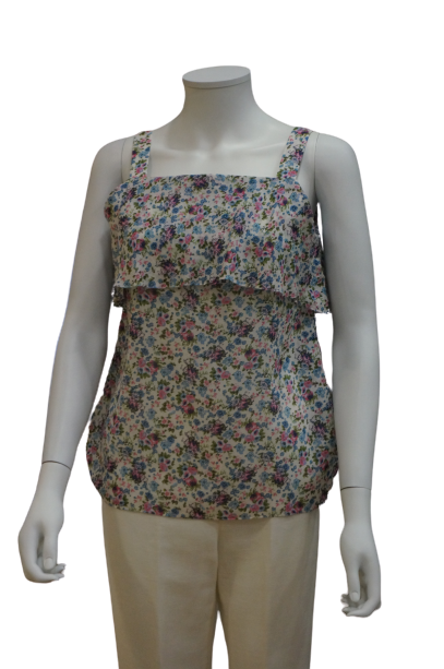 S/LESS STRAP DOUBLE LAYER FLORAL VISCOSE BLOUSE