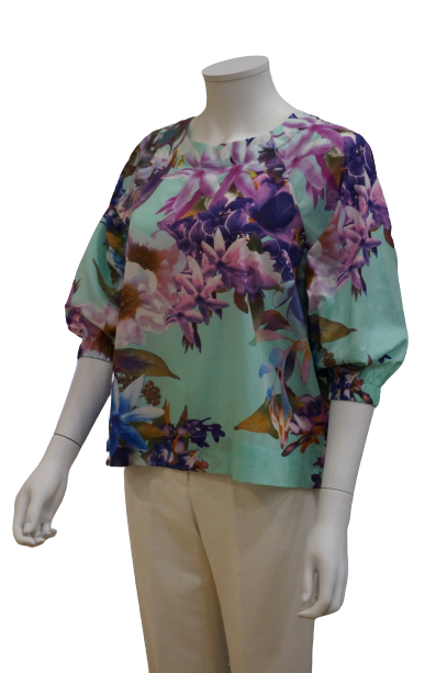 3/4 ELASTICATED SLEEVE FLORAL COTTON BLOUSE