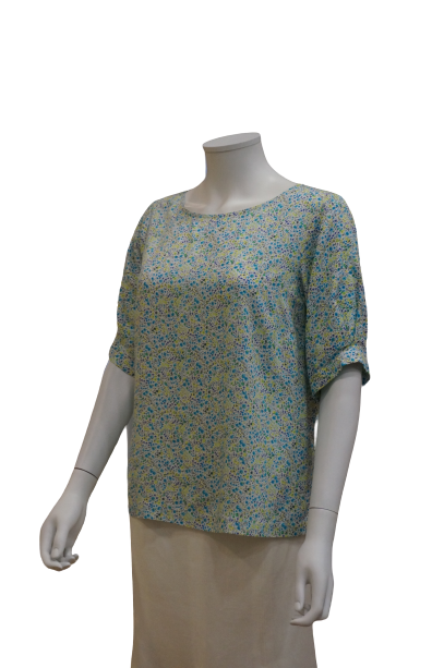 PLEATED SLEEVE FLORAL VISCOSE BLOUSE
