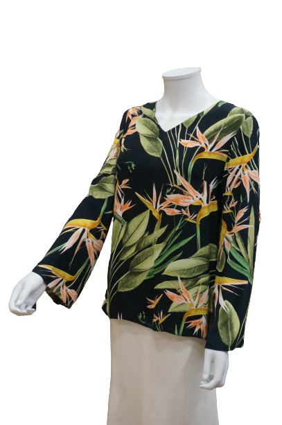BELL SLEEVE V NECK PRINTED VISCOSE BLOUSE