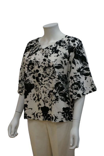 3/4 SLEEVE V NECK PRINTED LINEN COTTON RELAXED BLOUSE